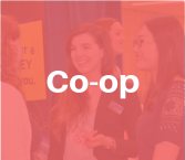 Two MMPA students smiling while conversing with employer at event, behind semi transparent red square with white text reading Co-op
