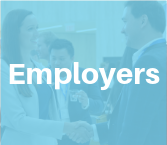 MMPA student shaking hands with employer at event, behind semi-transparent light blue square with white text reading Employer