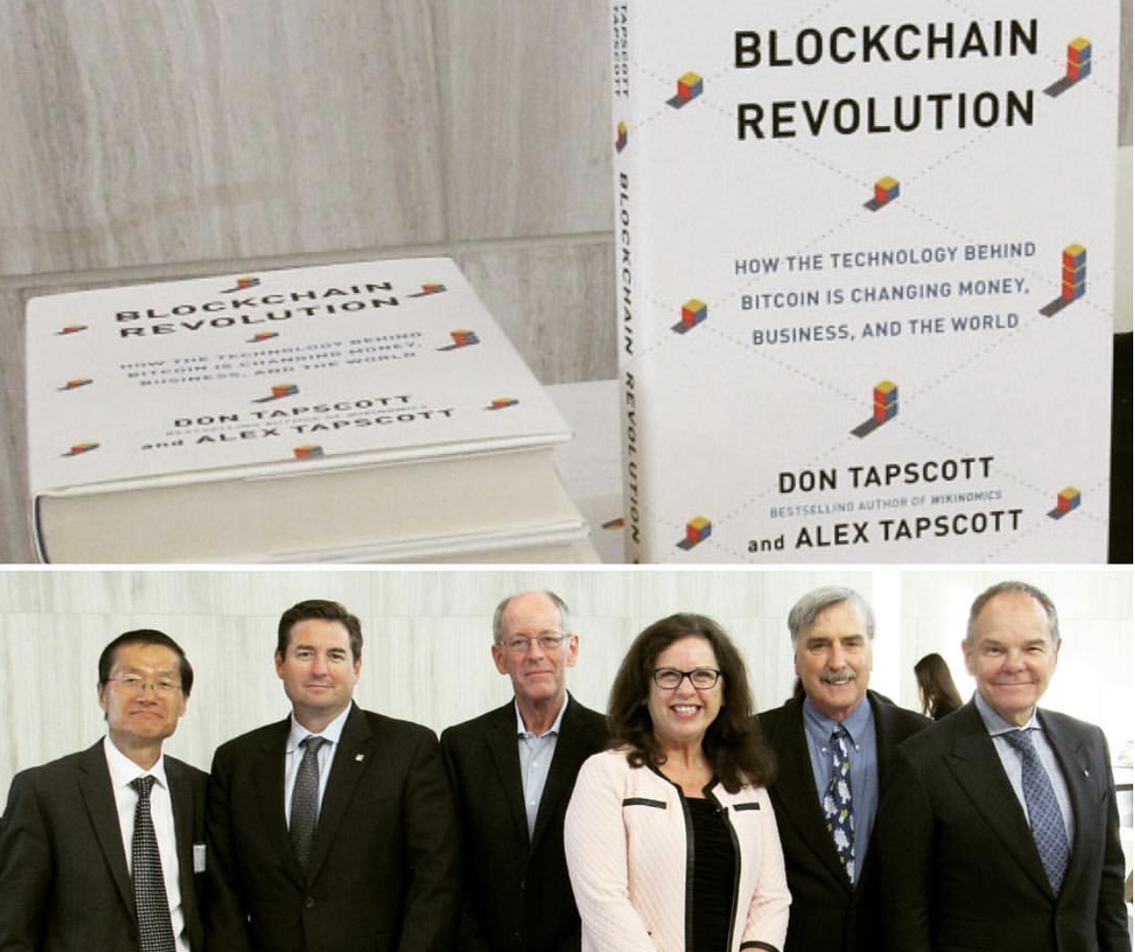 conference speakers with director and blockchain book
