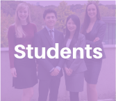 Four MMPA students in business attire posing outdoors behind semi transparent purple square with white text reading Students